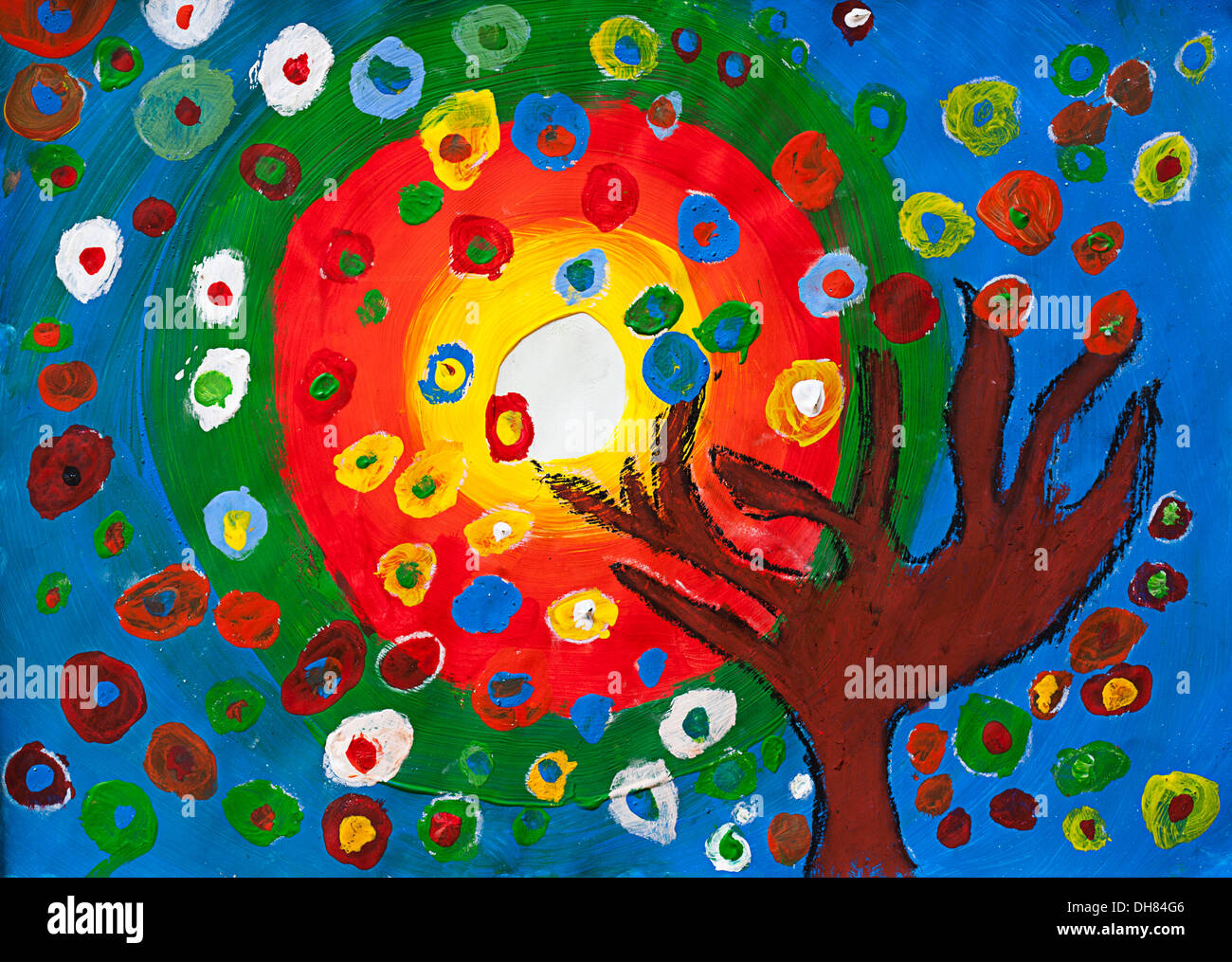 childrens artwork tree and