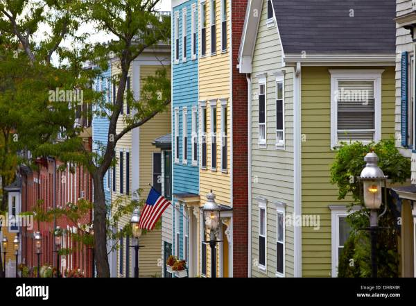 Charlestown Boston Massachusetts Colonial Homes Stock