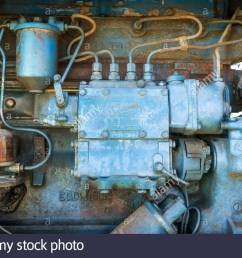 diesel fuel system fuel injectors fuel pump and injection pump from a fordson power major vintage tractor [ 1300 x 953 Pixel ]