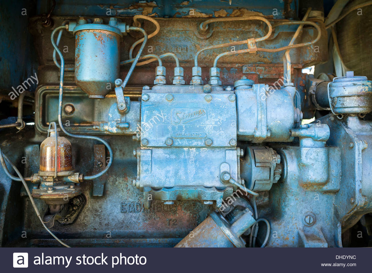 hight resolution of diesel fuel system fuel injectors fuel pump and injection pump from a fordson power major vintage tractor