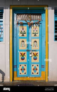 Colourful traditional Indian front door. Andhra Pradesh ...