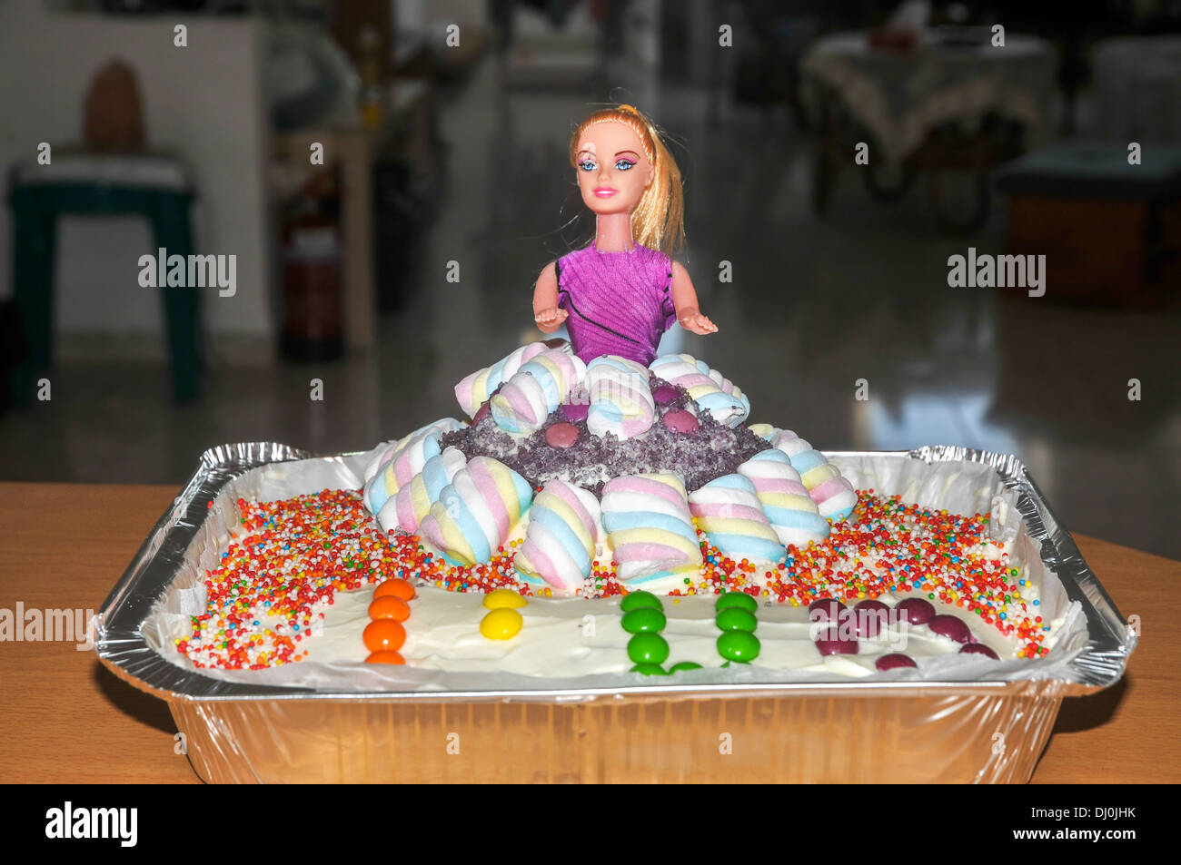 Barbie Doll Birthday Cake Decorated With Smarties And Hundreds And