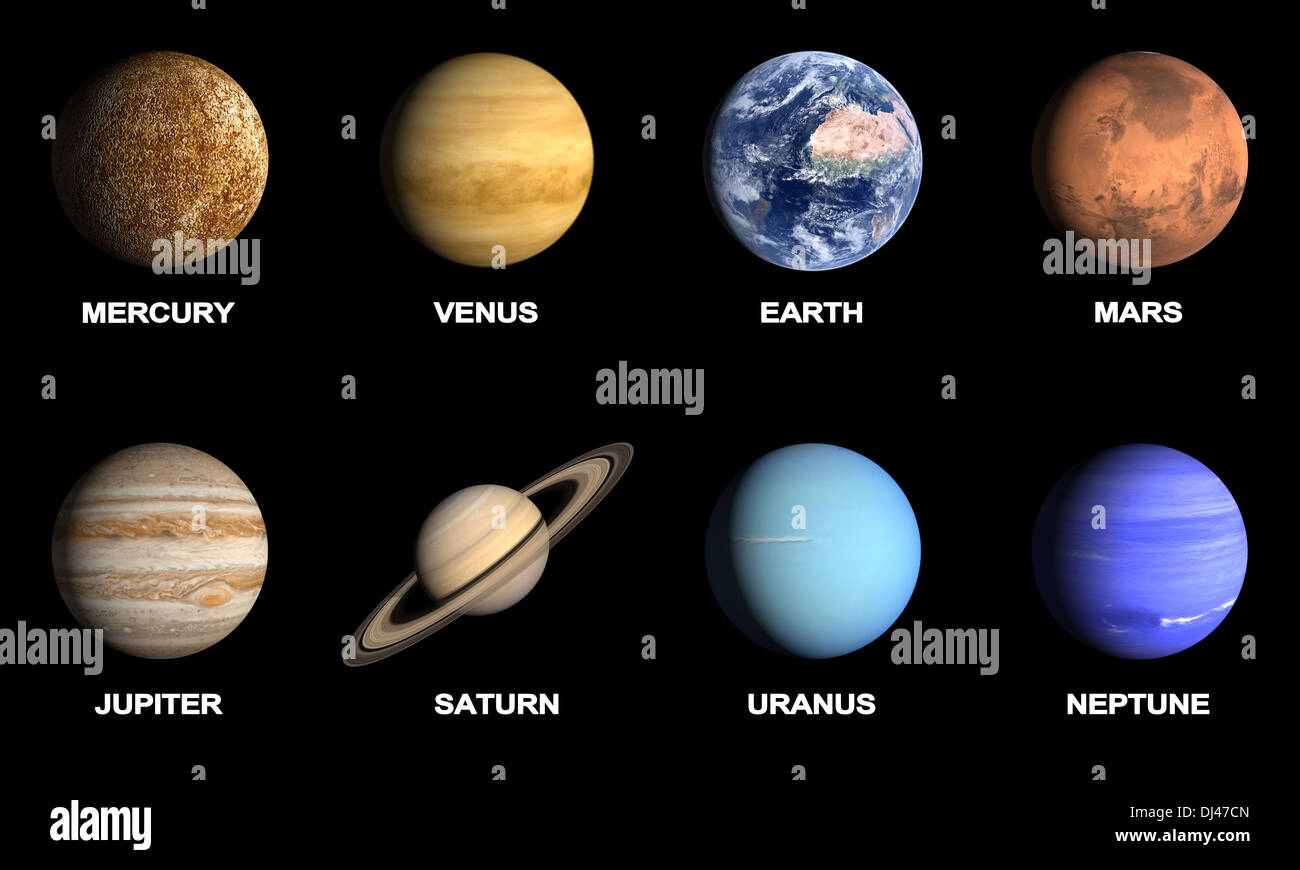 A Rendered Comparison Image Of The Planets Of Our Solar