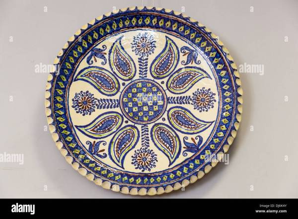 Colourful Blue And White Ceramic Plate Exhibit Museum Of