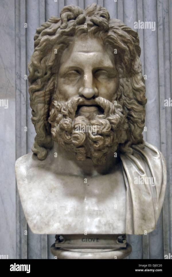 Greek Mythology. Zeus Of Otricoli. Marble Bust. Roman Copy