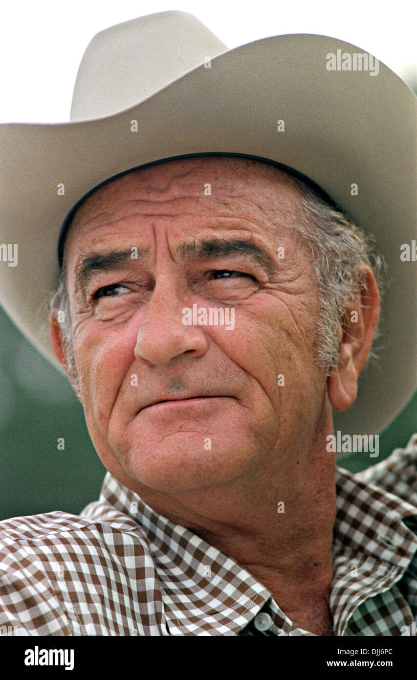 US President Lyndon B Johnson In A Cowboy Hat At His
