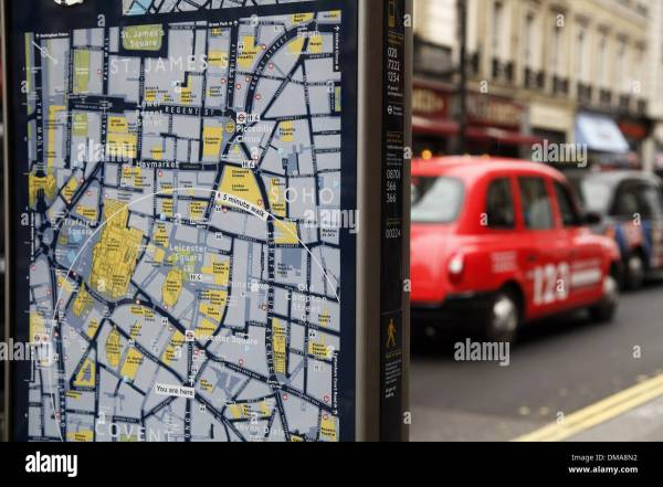 London England Tourist Map Of Leicester Square District Stock Royalty Free