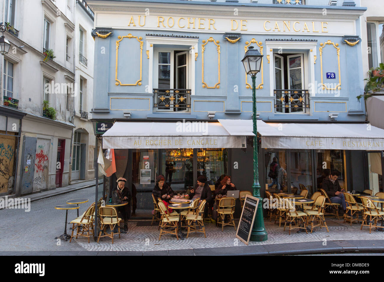 paris cafe chairs modern outdoor lounge chair the au rocher de cancale on rue montorgueil in paris, france stock photo, royalty free ...