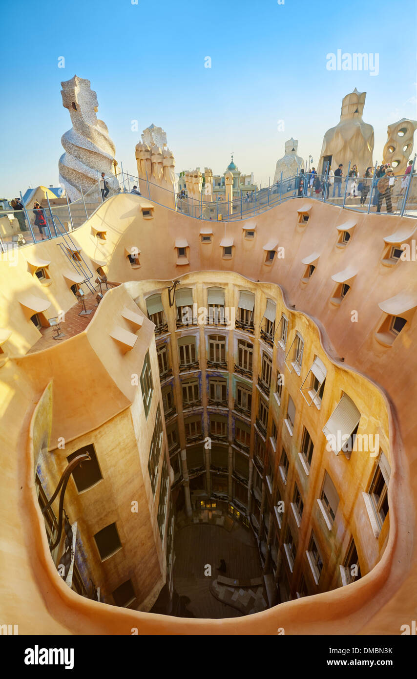 View of the roof and the courtyards of Casa Mila La Pedrera Stock Photo 64182263  Alamy