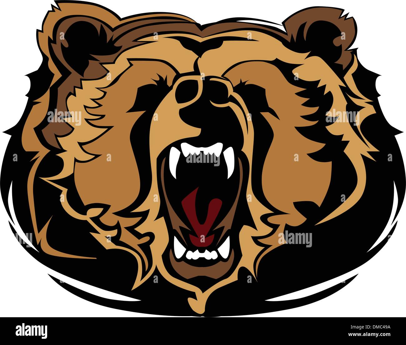 hight resolution of grizzly bear mascot head vector graphic
