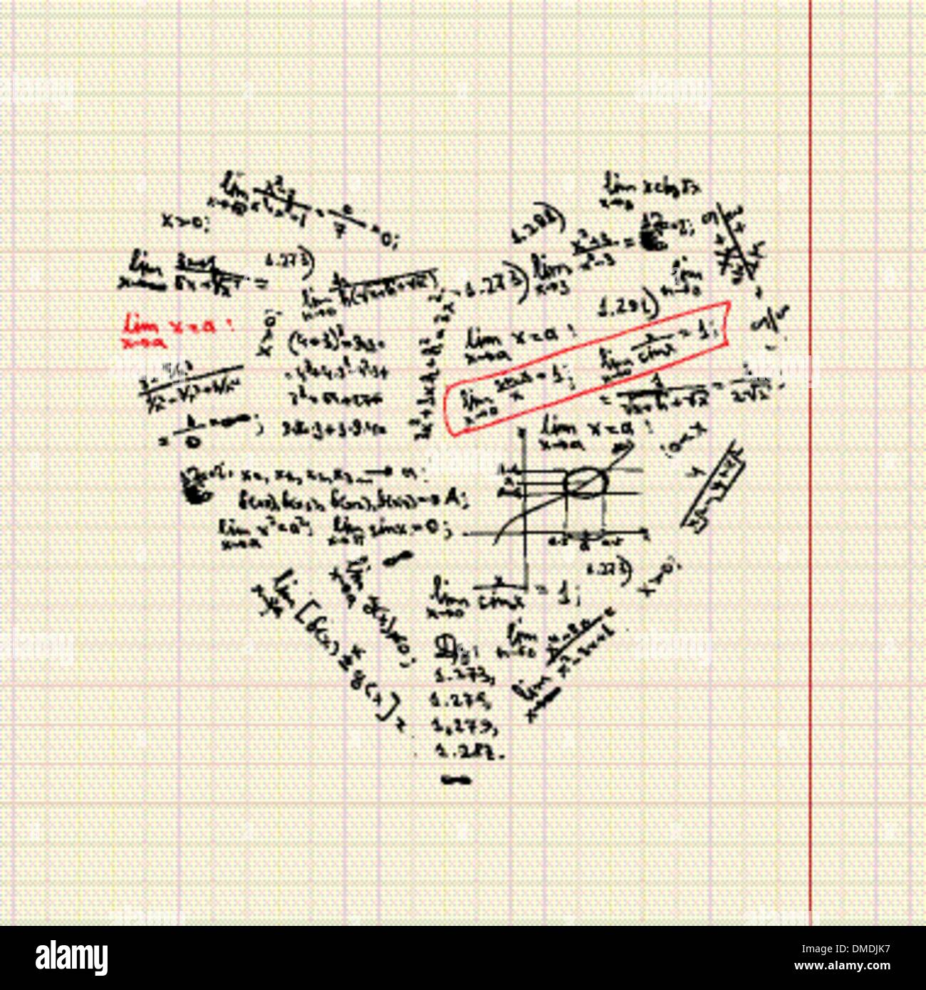 Heart Shape With Math Formulas For Your Design Stock