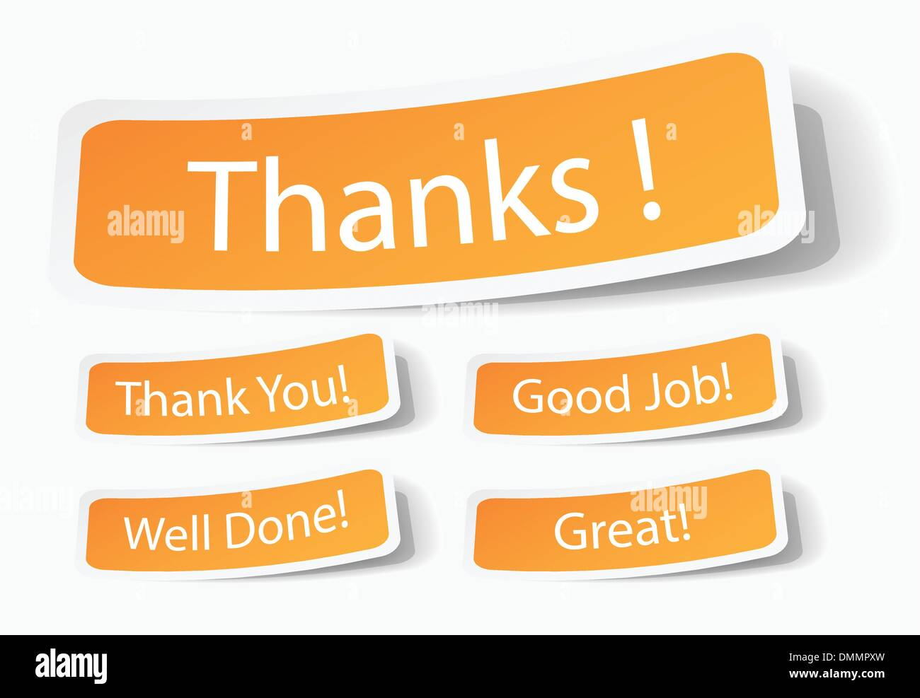 Thank You Notes As Stickers - Stock Image