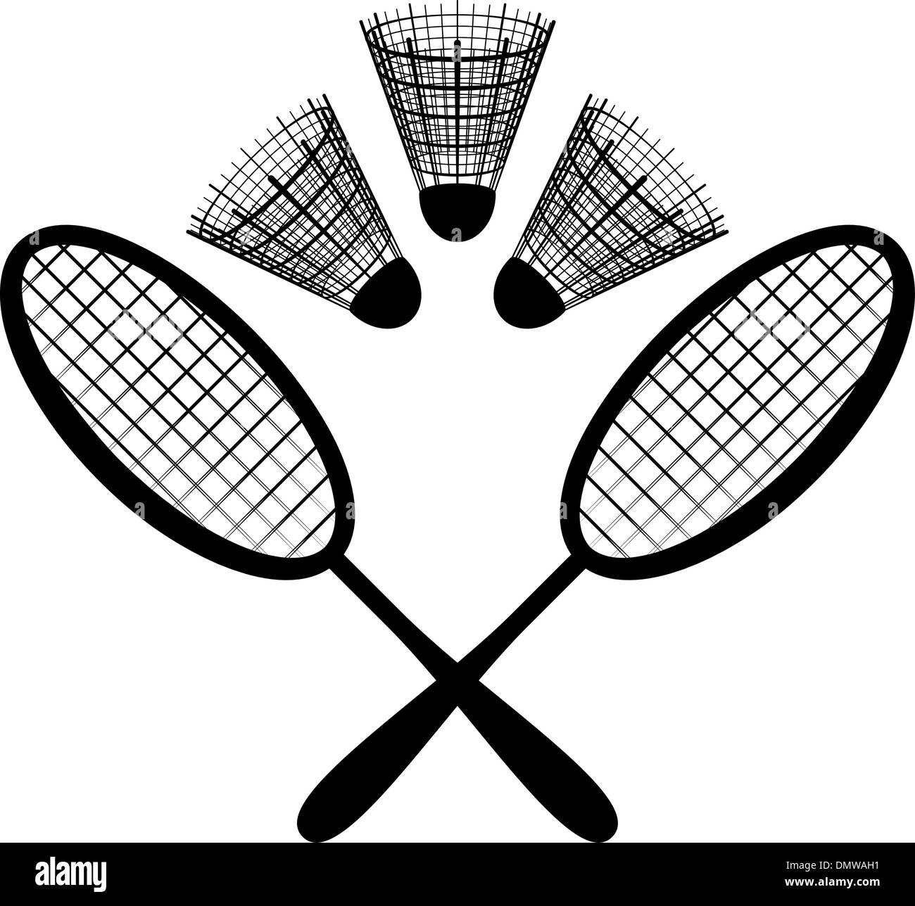 hight resolution of equipment for the badminton silhouette stock image