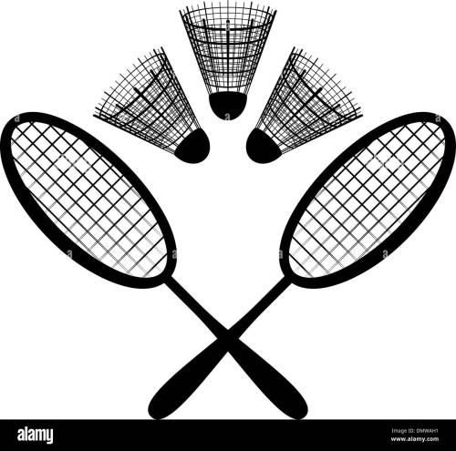 small resolution of equipment for the badminton silhouette stock image