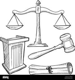 courtroom objects sketch stock vector [ 1300 x 1374 Pixel ]