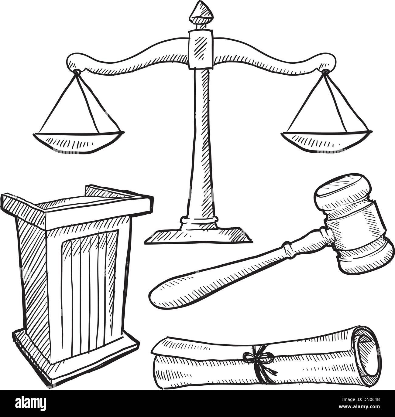 hight resolution of courtroom objects sketch stock vector