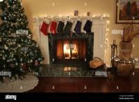Christmas Stockings Fireplace Family Stock Photos ...