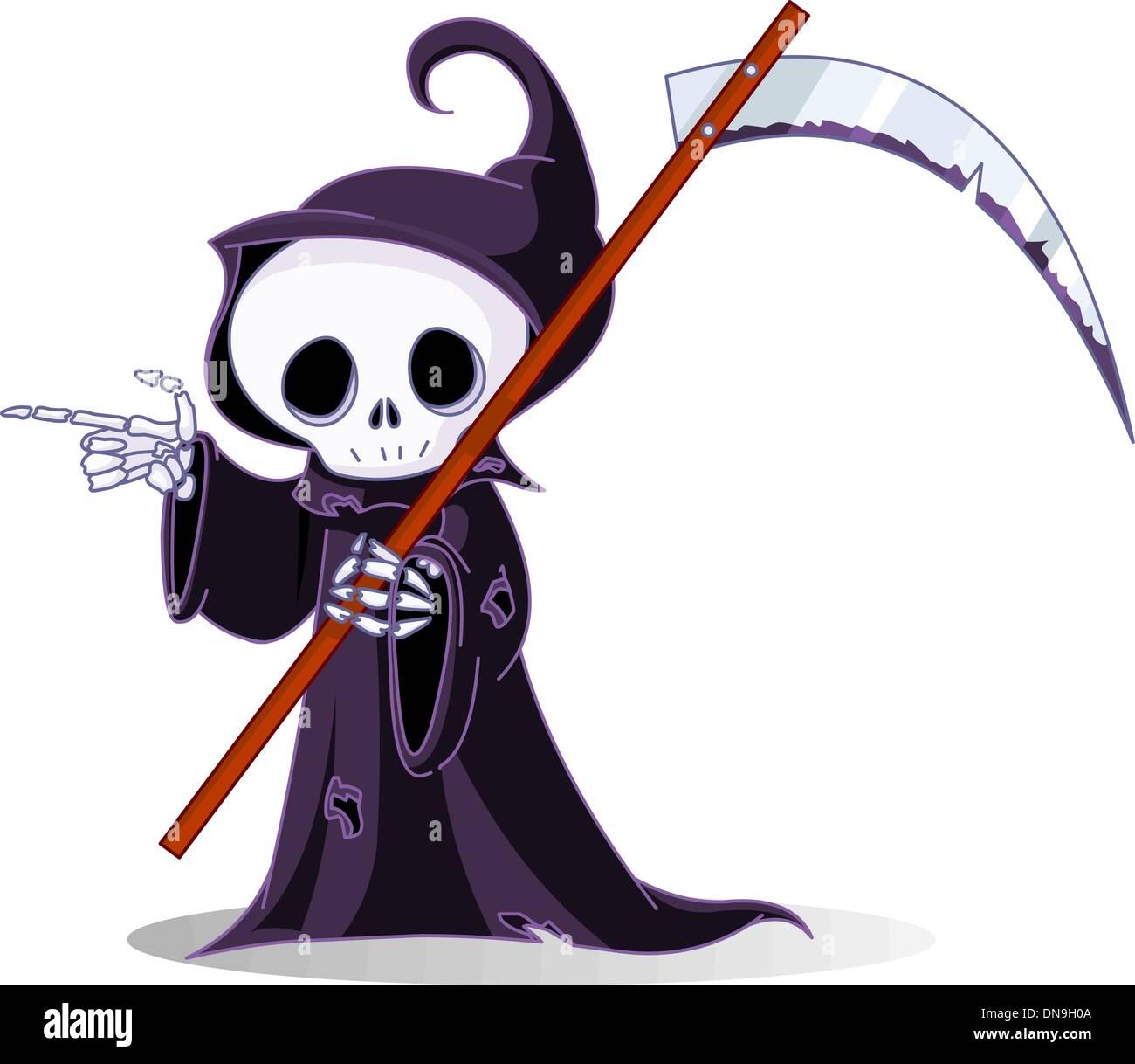 hight resolution of cartoon grim reaper pointing