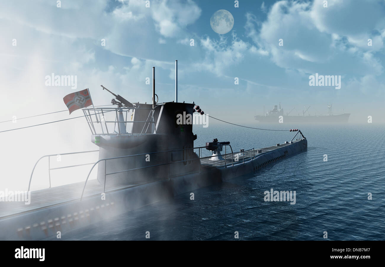 hight resolution of a german u boat moving in for the kill 1 stock image