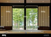 Old Japanese garden view room with sliding shoji doors ...