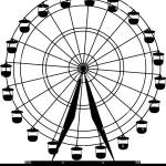 Silhouette Atraktsion Colorful Ferris Wheel Vector Illustration Stock Vector Image Art Alamy