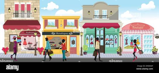 shopping mall outdoor illustration vector alamy