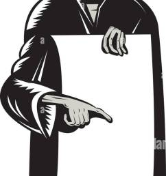 illustration of the grim reaper with top hat holding black sheet of paper pointing retro woodcut [ 618 x 1390 Pixel ]