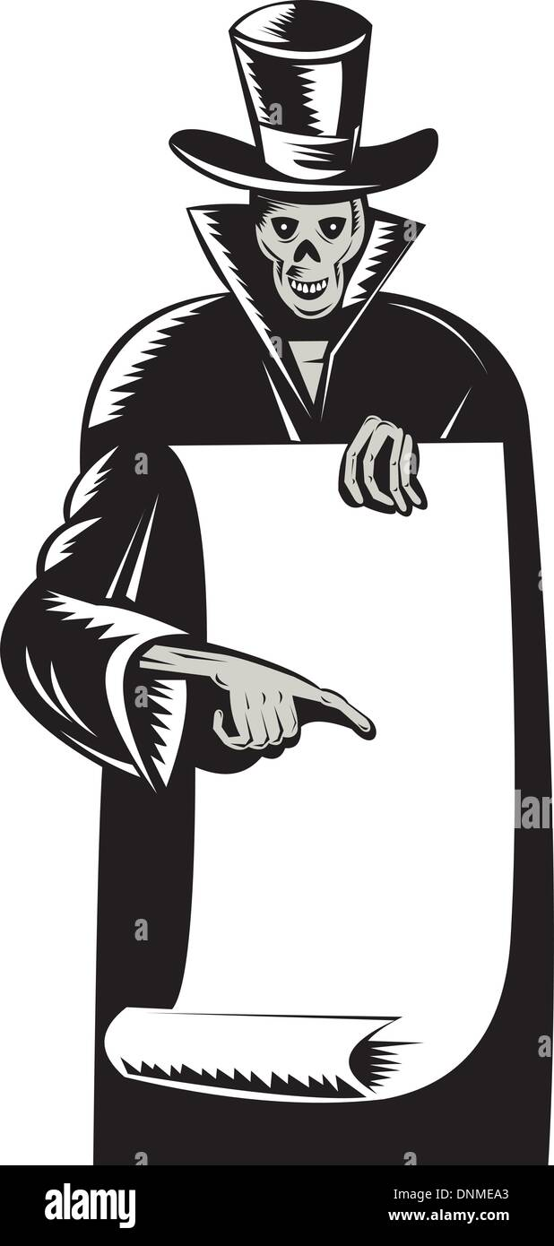 hight resolution of illustration of the grim reaper with top hat holding black sheet of paper pointing retro woodcut