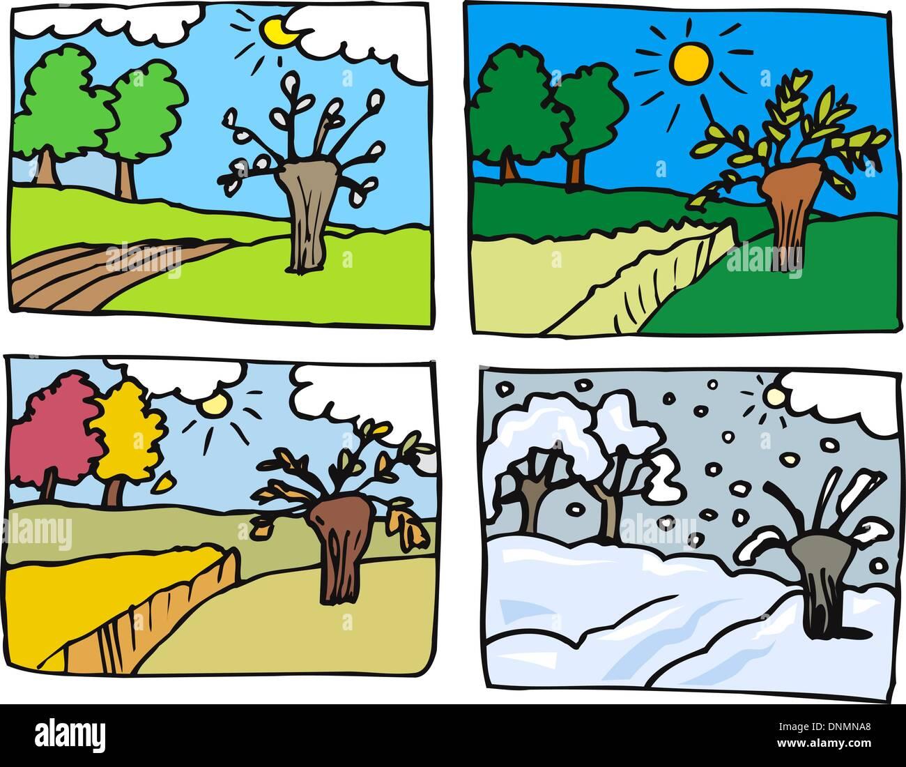 Cartoon Illustration Of Rural Landscape In Four Seasons
