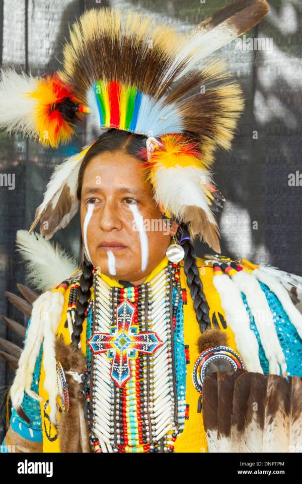 Pow Wow Native Male Dancer Stock &