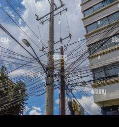 tangled electrical and telephone wiring in bolivia causing a real complex mess for technicians working on the lines  [ 1300 x 956 Pixel ]