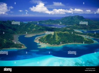Aerial view of Huahine Island in French Polynesia Stock ...