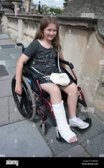 Girl Wheelchair Broken Leg Cast