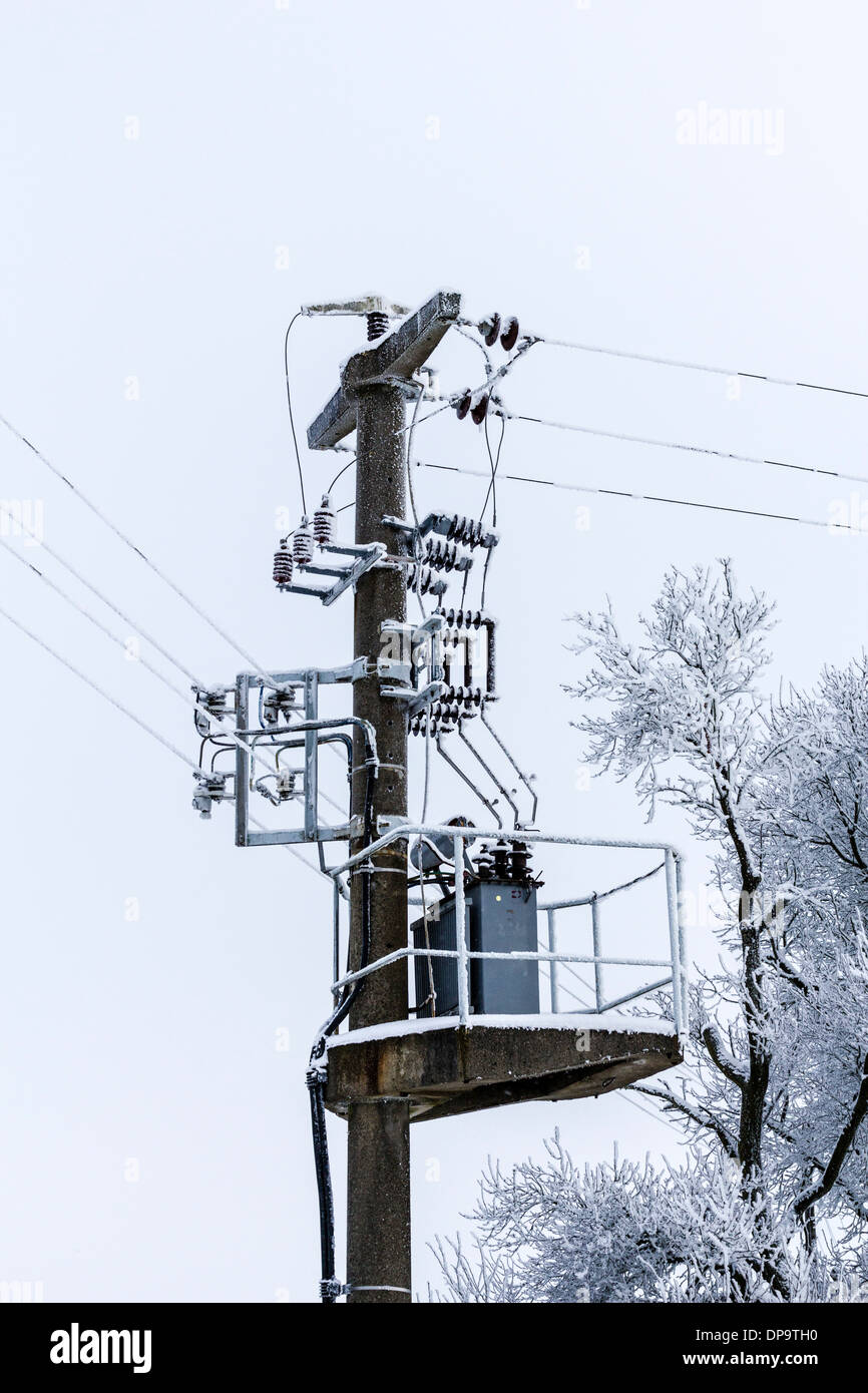 hight resolution of old concrete power line with transformer and winter tree