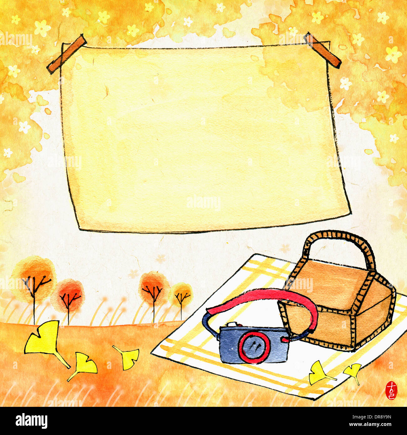 illustration memo template with autumn concept featuring blank page ...