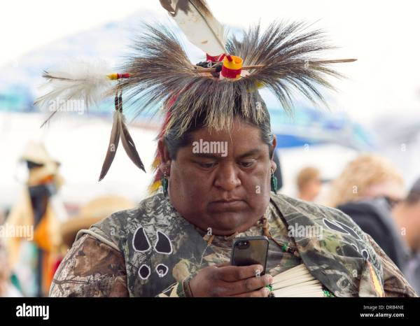 Modern Native American In Traditional Pow-wow Clothing