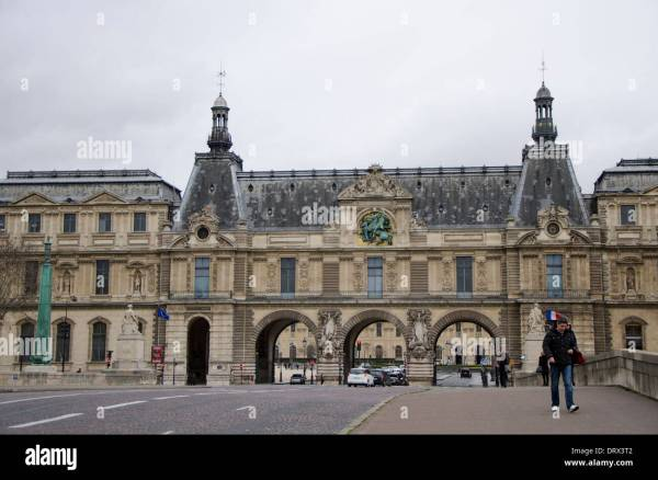 Entrance Of Louvre Palace With Museum Pont Du