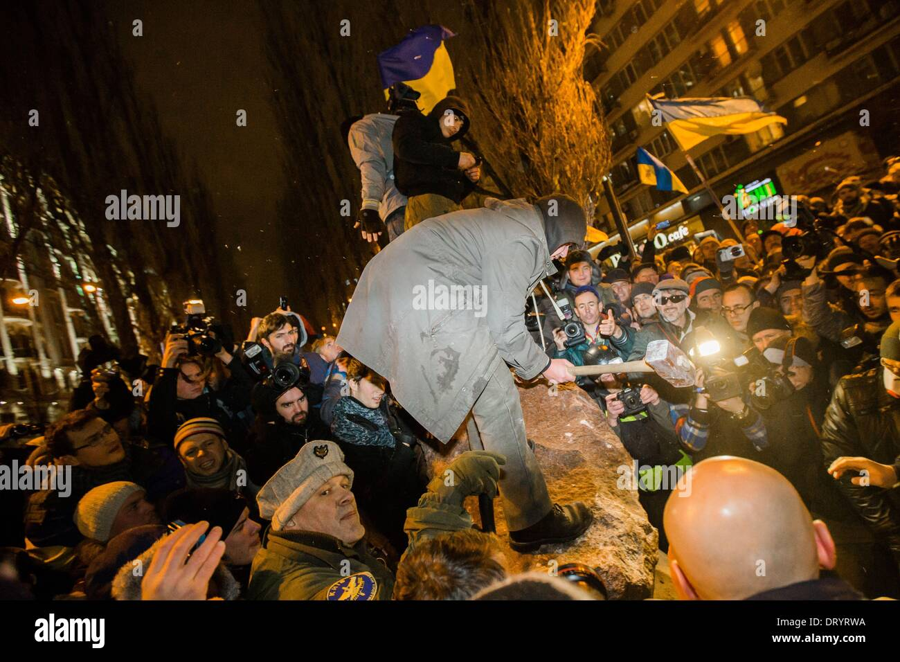 protesters smashed the lenin