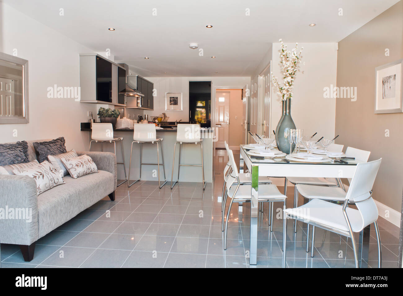 sofa in the kitchen contemporay show home diner with stock photo 66544454