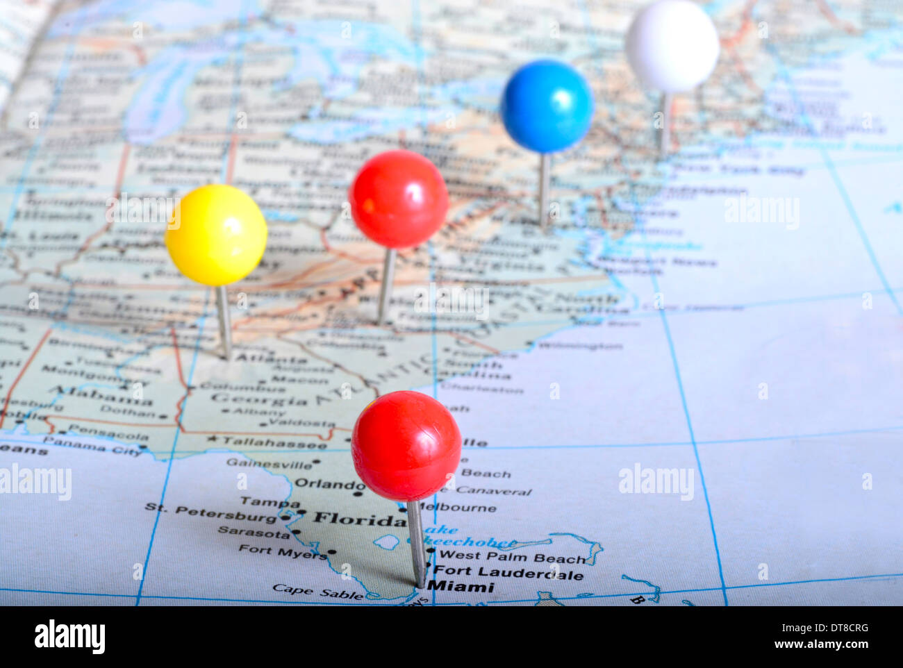 Map Of Eastern Us With Pin Tags On It Placed On Major Cities Stock Photo Alamy