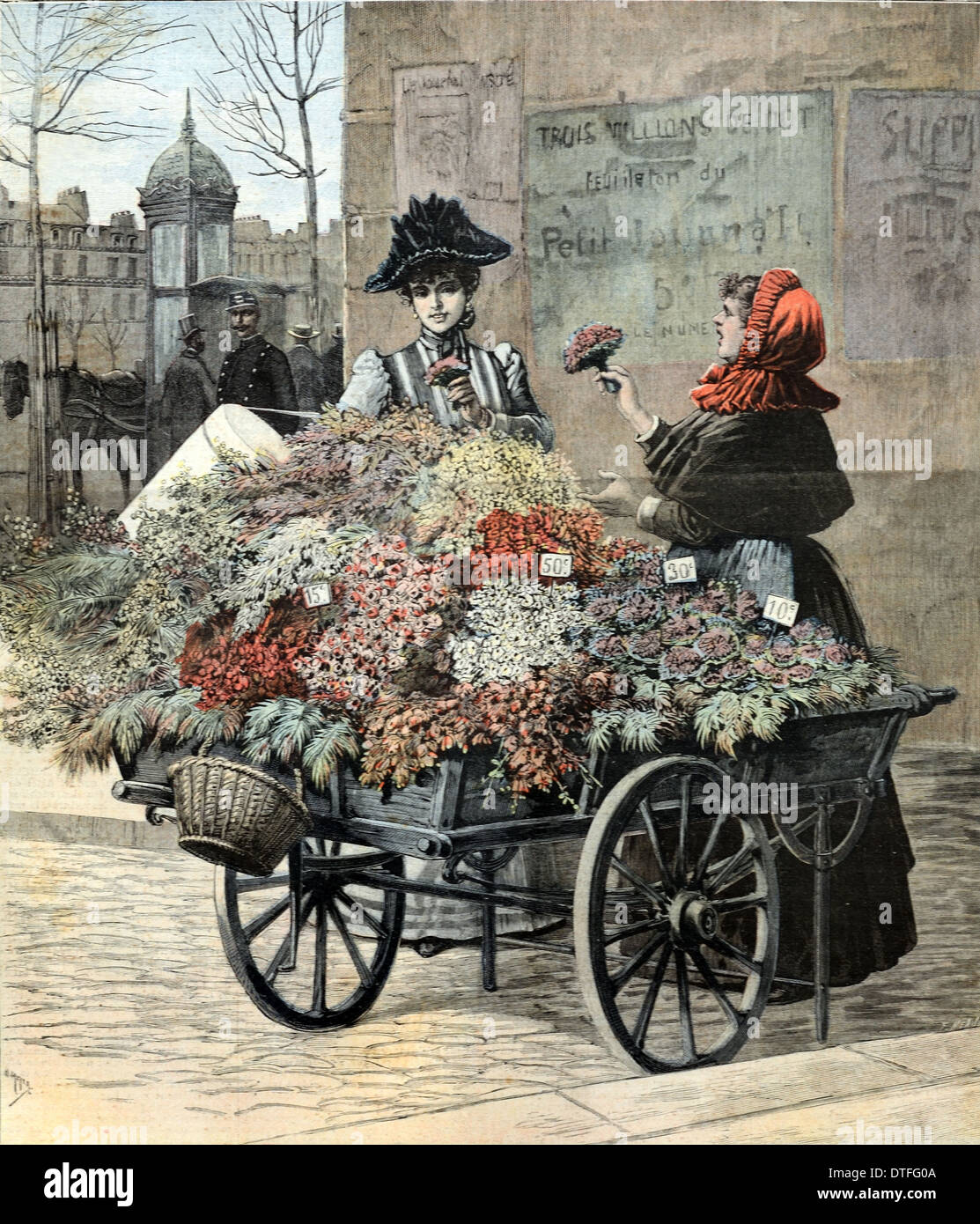 Barrow Girl Selling Flowers Street Seller Costermonger Or