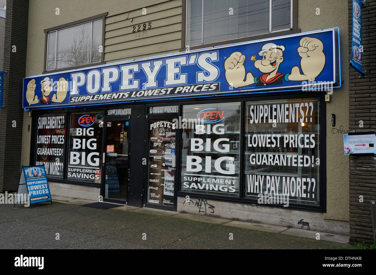Popeyes vitamin and supplement store Vancouver BC Canada Stock Photo Royalty Free Image