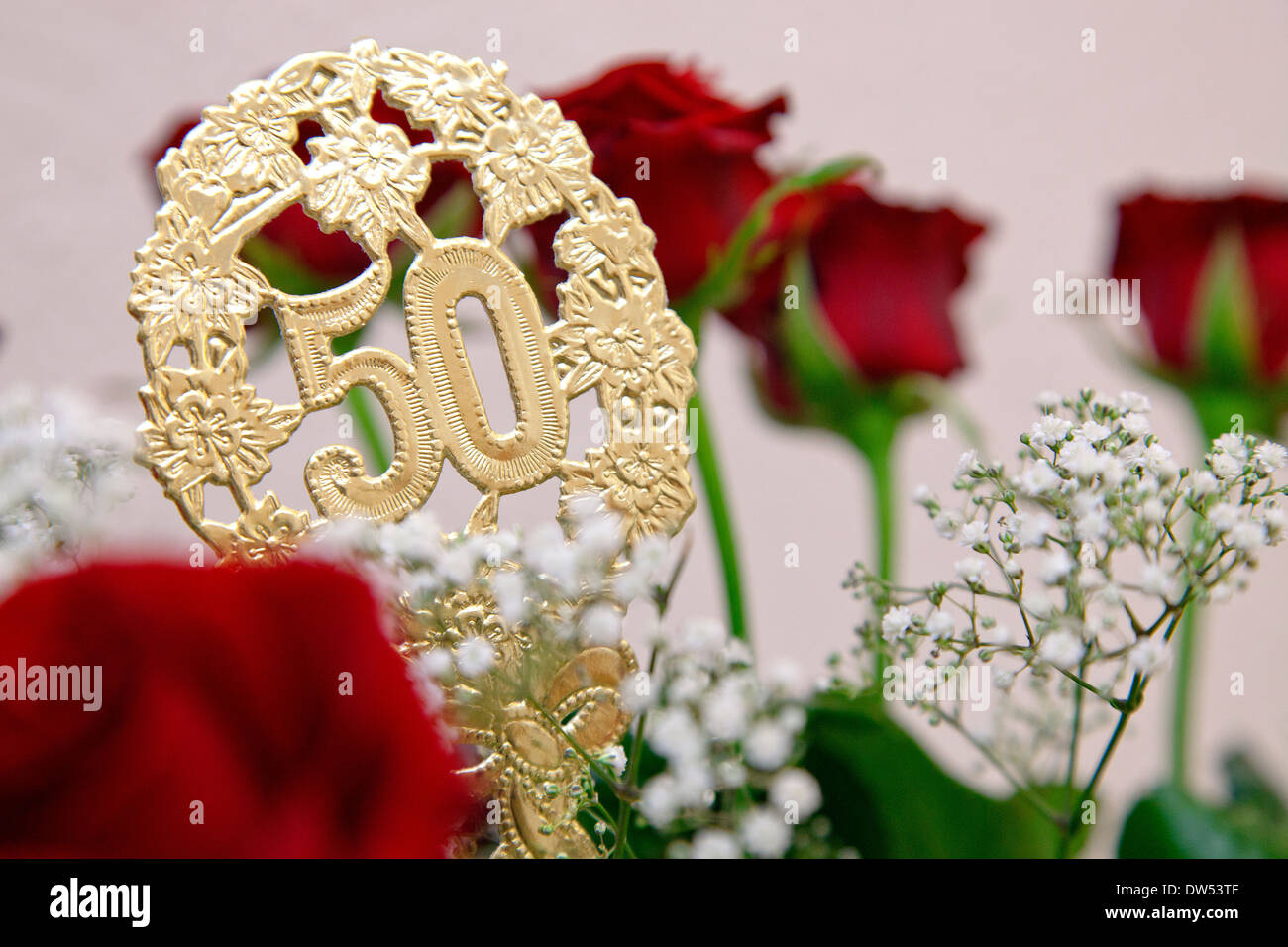 Bouquet Of Flowers At Golden Wedding Anniversary Or 50th