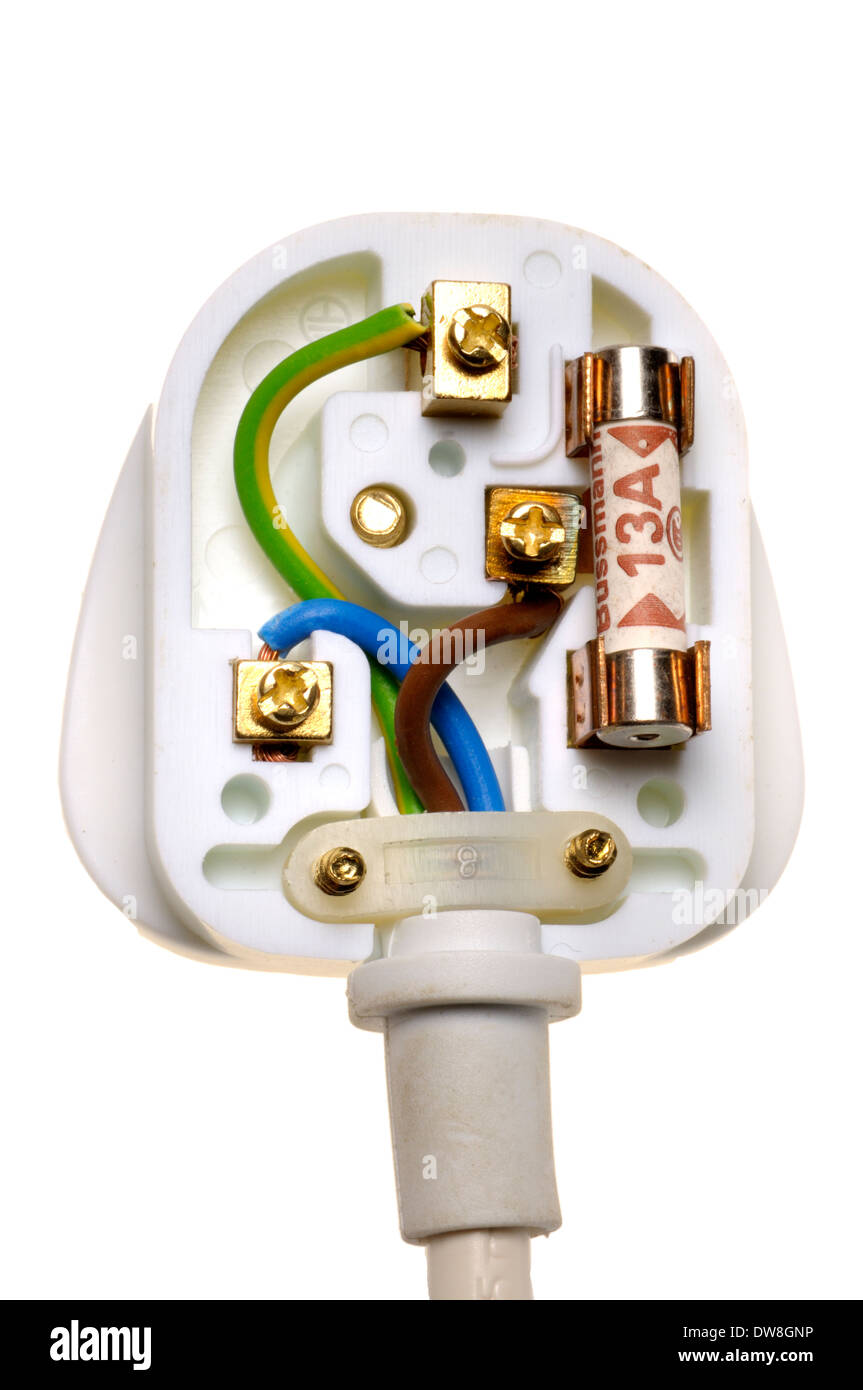 medium resolution of uk electric plug showing correct wiring stock image
