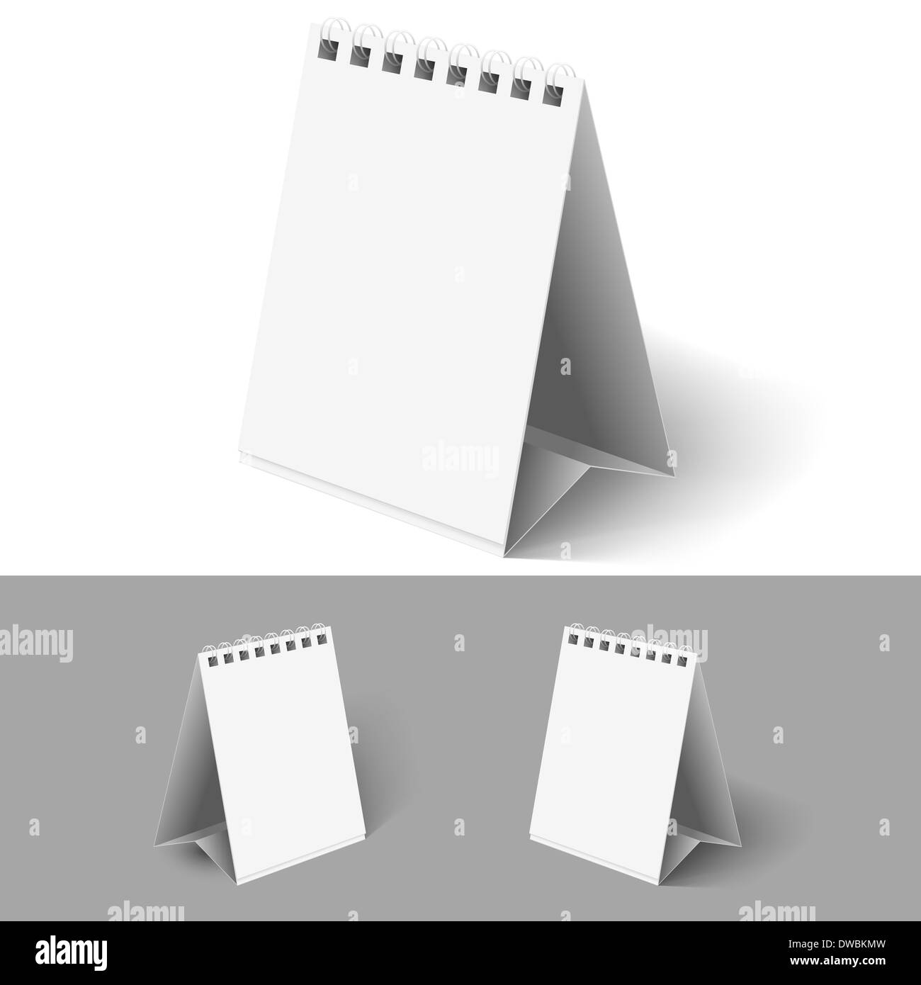 hight resolution of blank table flip calendars on white and grey backgrounds