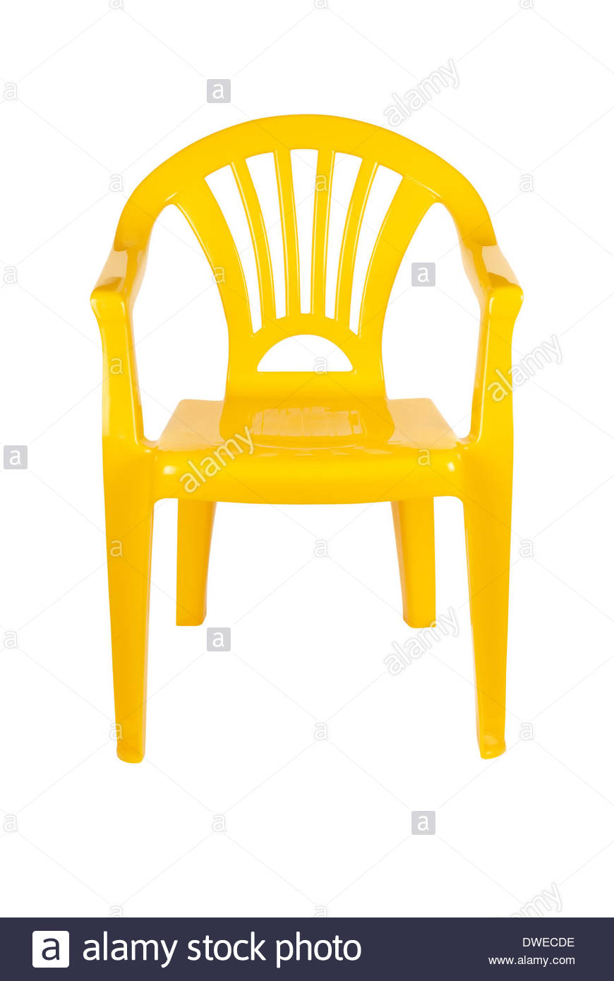 Yellow Plastic Patio Chair Isolated On White With Path Stock