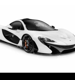 white 2014 mclaren p1 plug in hybrid supercar isolated sports car on white background  [ 1300 x 976 Pixel ]