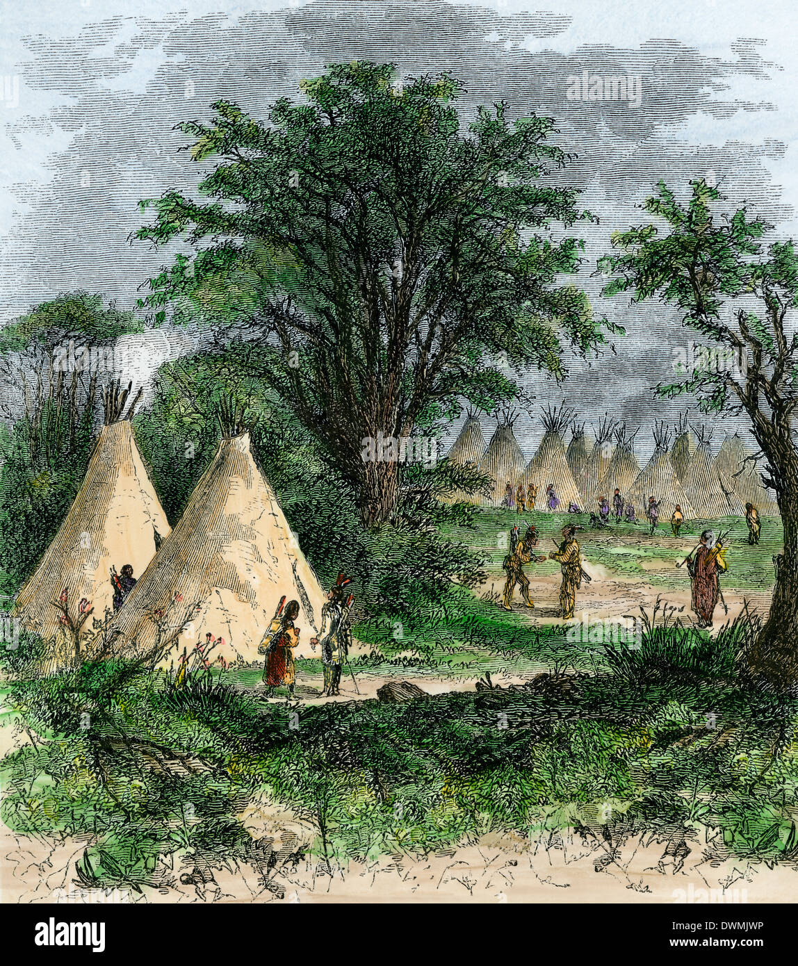 Native American Tipi Village S Hand Colored Woodcut