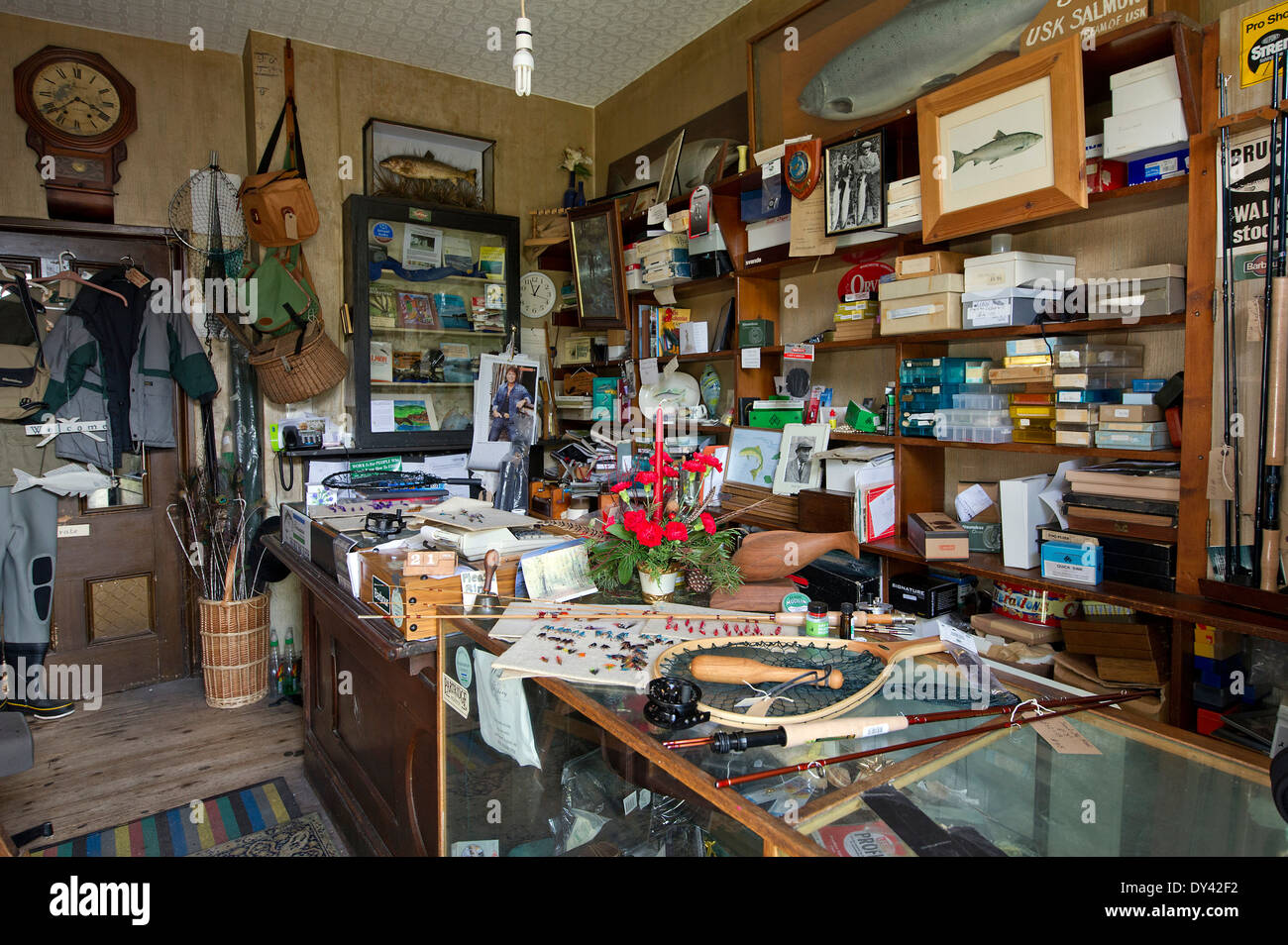 Sweet's Tackle Shop. Usk. with manager Jean Williams seen making Stock Photo: 68316614 - Alamy