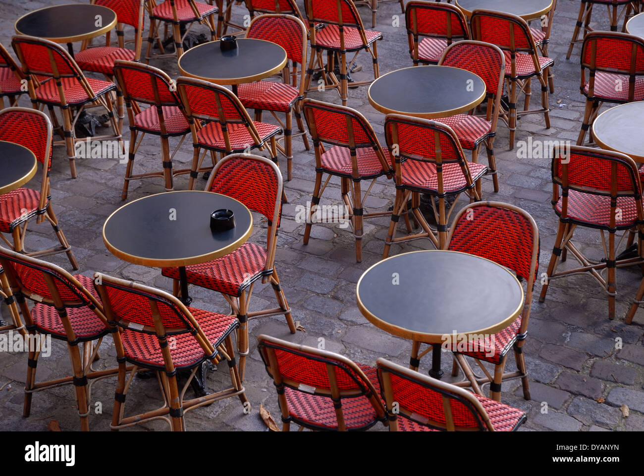 parisian cafe table and chairs suede dining room red tables café paris france stock